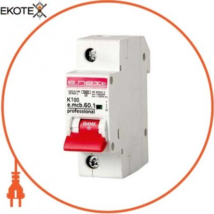 Enext p0430003 модульный автоматический выключатель e.mcb.pro.60.1.k 100 new, 1р, 100а, k, 6ка new