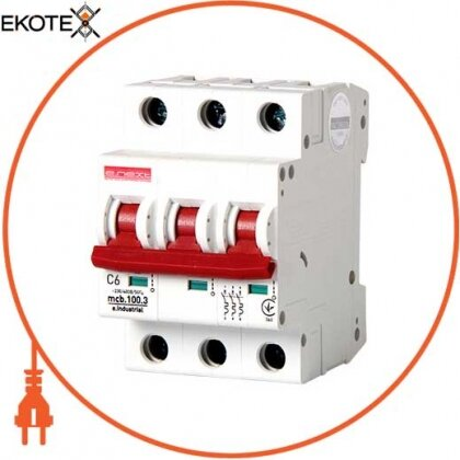 Enext i0180019 модульный автоматический выключатель e.industrial.mcb.100.3.c6, 3 р, 6а, c,  10ка