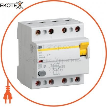 IEK MDV10-4-080-300 выключатель дифференциальный (узо) вд1-63 4р 80а 300ма iek