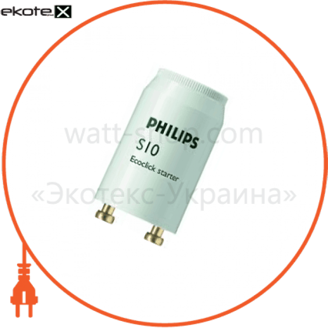 Philips-S10 Philips комплектующие для люминесцентных ламп стартер philips s10 4-65w