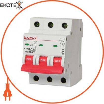 Enext s001024 модульный автоматический выключатель e.mcb.stand.45.3.b6, 3р, 6а, в, 4,5 ка