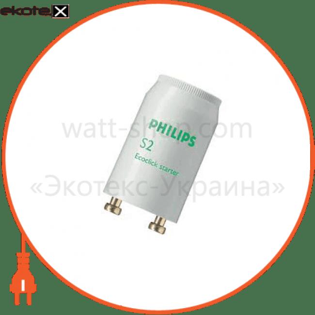 Philips-S2 Philips комплектующие для люминесцентных ламп стартер philips s2 4-22w