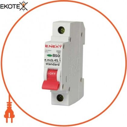 Enext s001013 модульный автоматический выключатель e.mcb.stand.45.1.b50, 1р, 50а, в, 4,5 ка