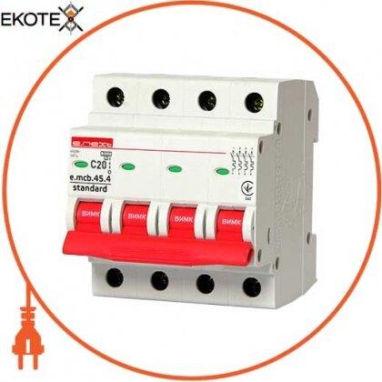 Enext s002048 модульный автоматический выключатель e.mcb.stand.45.4.c20, 4р, 20а, c, 4,5 ка