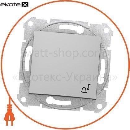 """Schneider SDN0800160 sedna кнопка 1полюсная, 10a с символом """"звонок"""", без рамки алюминиевый"""