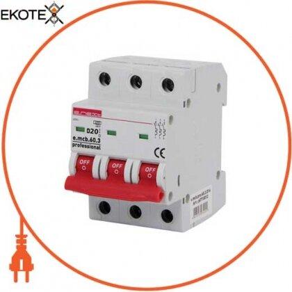 Enext p0710013 модульный автоматический выключатель e.mcb.pro.60.3.d.20 , 3р, 20а, d, 6ка