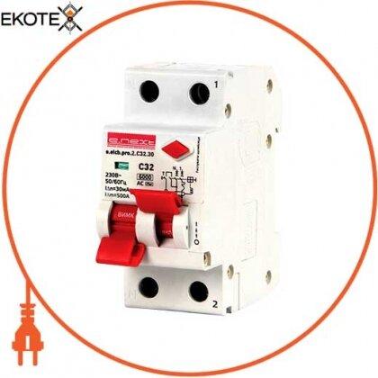 Enext p0620004 выключатель дифференциального тока (дифавтомат) e.elcb.pro.2.c32.30, 2р, 32а, c, 30ма с разделенной рукояткой