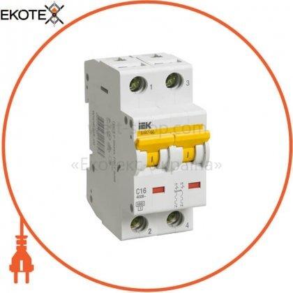 IEK MVA41-2-016-C автоматический выключатель ва47-60 2р 16а 6ка с iek