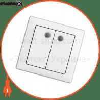 вимикач WEGA 9123 2-клавішний з підсвічуванням крем