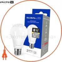 Лампа светодиодная A60 8W 3000K 220V E27 AL