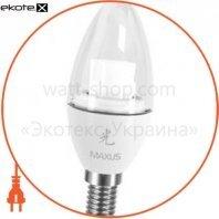 LED лампа MAXUS 4W яркий свет C37 Е14 220V (1-LED-330)
