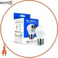 Светодиодная лампа Global G45 F 6W яркий свет E27