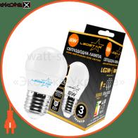 светодиодная лампа ledstar, 6w, g45, e27, шарик, 540lm, 4000к нейтральный, матовое стекло светодиодные лампы ledstar LEDSTAR 100620