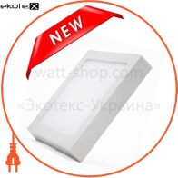 Светодиодный светильник LEDEX, квадрат, накладной,  8W,  4000К нейтральный, матовое стекло, Напряжение: AC100-265V, алюминий, тонкий