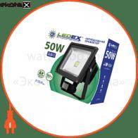 Светодиодный прожектор LEDEX 50W sensor, 4000lm, 6500К холодный белый, 120º, IP65