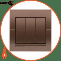 Выключатель тройной 702-3131-109 Цвет Светло-коричневый металлик 10АХ 250V~