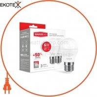 Лампа світлодіодна G45 F 6W 3000K 220V E27 (по 2 шт.)