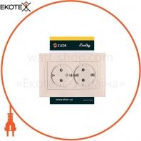 Розетка двойная с заземлением внутрення ELCOR Emily 9215 крем (211571)