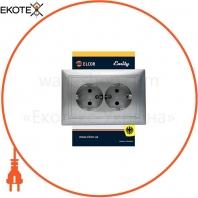 Розетка двойная с заземлением Emily 9215 серый металлик ELCOR