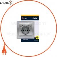 Розетка с заземлением с 2 USB Emily 9215 серый металлик ELCOR