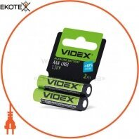 Videx Батарейка щелочная LR03/AAA 2pcs shrink card 60 шт/уп