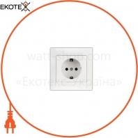 Розетка одинарная с заземлением внутрення Kaxige TURBO белая (211707)