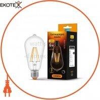 LED лампа VIDEX Filament ST64FD 6W E27 4100K 220V диммерная