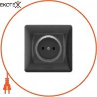 VIDEX BINERA Розетка черный графит 1ая (VF-BNSK1-BG) (20/120)