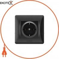VIDEX BINERA Розетка черный графит 1ая с заземлением (VF-BNSK1G-BG) (20/120)