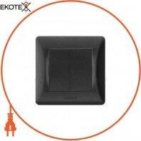 VIDEX BINERA Выключатель черный графит 2кл (VF-BNSW2-BG) (20/120)
