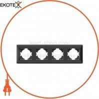 VIDEX BINERA Рамка черный графит 4 поста горизонтальная (VF-BNFR4H-BG) (12/72)