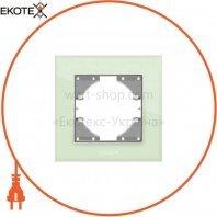 VIDEX BINERA Рамка зеленое стекло одинарная горизонтальная (VF-BNFRG1H-GR) (12/144)