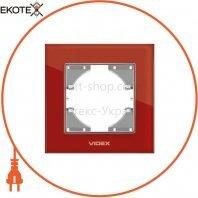 VIDEX BINERA Рамка красное стекло одинарная горизонтальная (VF-BNFRG1H-RD) (12/144)