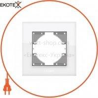 VIDEX BINERA Рамка белое стекло одинарная горизонтальная (VF-BNFRG1H-W) (12/144)