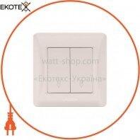 VIDEX BINERA Выключатель кремовый 2кл проходной VF-BNSW2P-CR) (20/120)