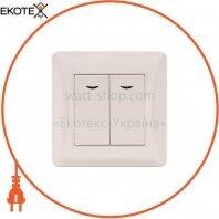 VIDEX BINERA Выключатель кремовый 2кл с подсветкой (VF-BNSW2L-CR) (20/120)