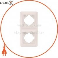 VIDEX BINERA Рамка кремовая 2 поста вертикальная (VF-BNFR2V-CR) (12/96)