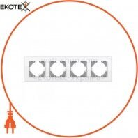 VIDEX BINERA Рамка белое стекло 4 поста горизонтальная (VF-BNFRG4H-W) (12/72)