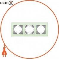 VIDEX BINERA Рамка зеленое стекло 3 поста горизонтальная (VF-BNFRG3H-GR) (12/96)