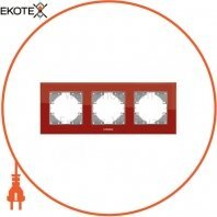 VIDEX BINERA Рамка красное стекло 3 поста горизонтальная (VF-BNFRG3H-RD) (12/96)