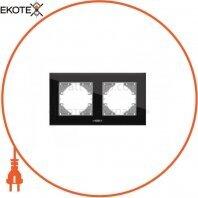 VIDEX BINERA Рамка черное стекло 2 поста горизонтальная (VF-BNFRG2H-B) (12/96)