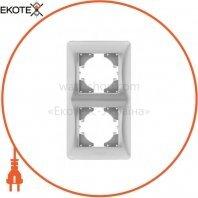 VIDEX BINERA Рамка серебряный шёлк 2 поста вертикальная (VF-BNFR2V-SS) (12/96)