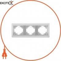 VIDEX BINERA Рамка серебряный шёлк 3 поста горизонтальная (VF-BNFR3H-SS) (12/96)