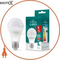LED лампа TITANUM A60 8W E27 4100K 220V 50шт/ящ