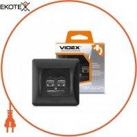 VIDEX BINERA Розетка CAT6+CAT6 двойная компьютерная черный графит (VF-BNSK2PC6-BG) (20/120)
