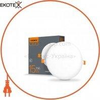 LED светильник безрамочный круглый VIDEX 15W 4100K 220V 20 шт/ящ