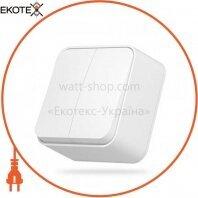 VIDEX BINERA Выключатель наружный 2кл белый (VF-BNS12-W) (12/120)