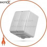 VIDEX BINERA IP65 Выключатель наружный 2кл серый (VF-BNW12-G) (10/100)