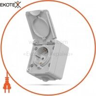 VIDEX BINERA IP65 Розетка наружная 1ая с заземлением серая (VF-BNW21G-G) (10/100)