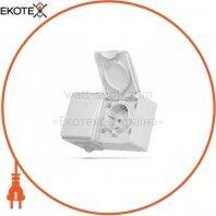 VIDEX BINERA IP65 Розетка наружная 1ая с заземлением и выключатель 1кл серый (VF-BNW3-G) (5/50)